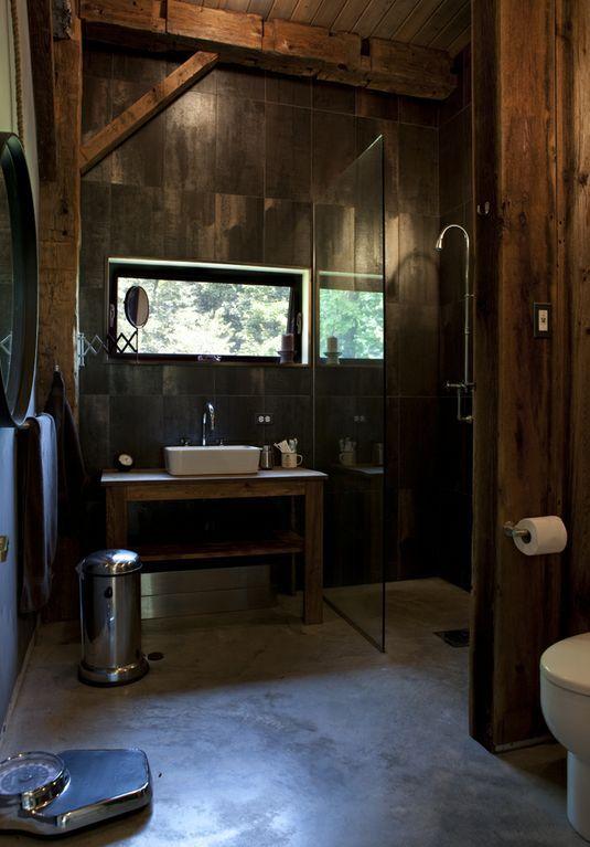 Baths Dark Wood Concrete Floors Dark Moody Exposed Beams Scales Sinks Wall Panelling Industrial Bathroom Decor Bathroom Interior Design Rustic Bathroom Designs