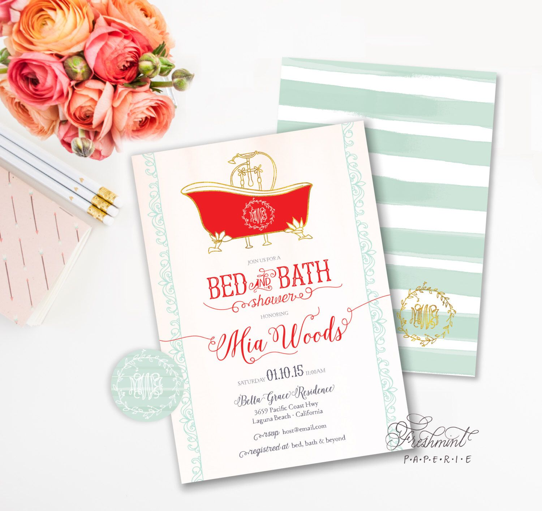 printable invitations bridal shower invitation bed bath shower invitation calligraphy