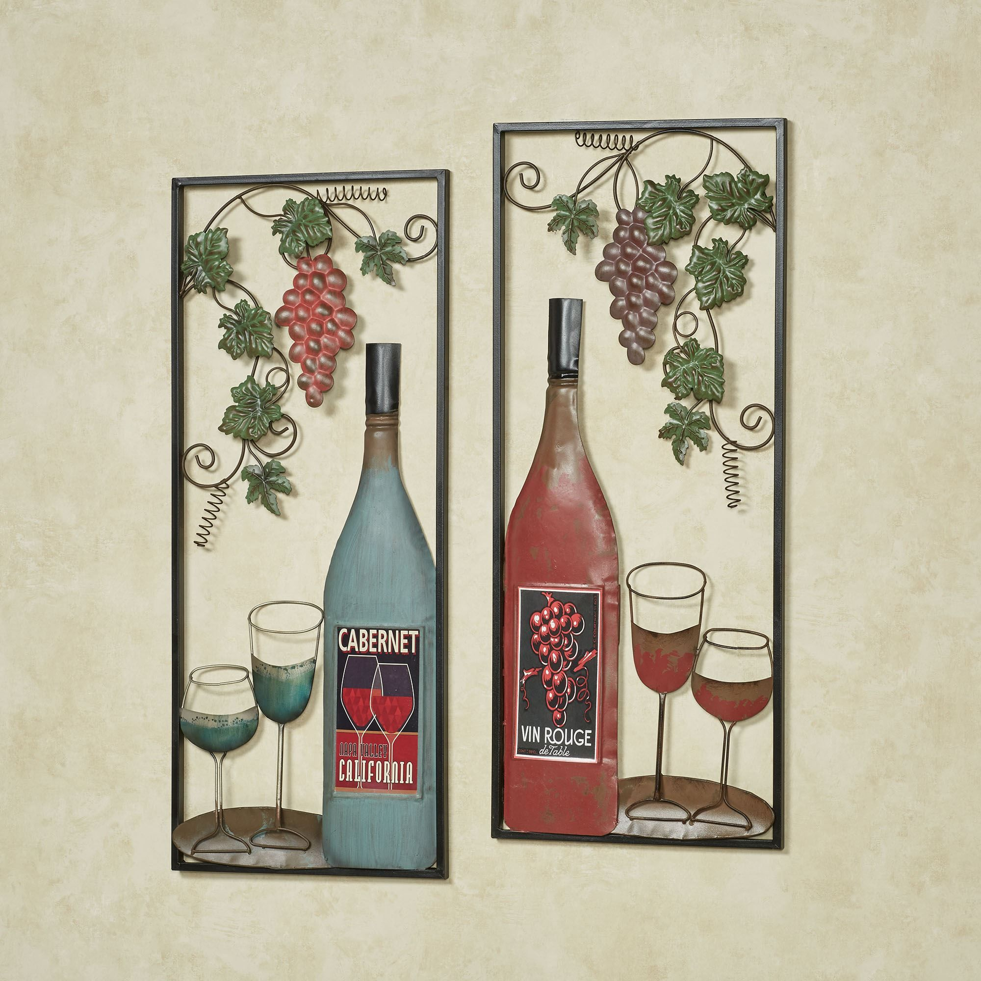 At The Vineyards Grapes And Wine Metal Wall Art Set Wine Wall Art Wall Art Sets Metal Wall Art