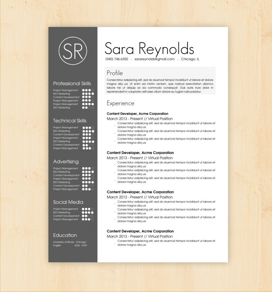 resume-design-templates-profile-experience-professional-skills ...
