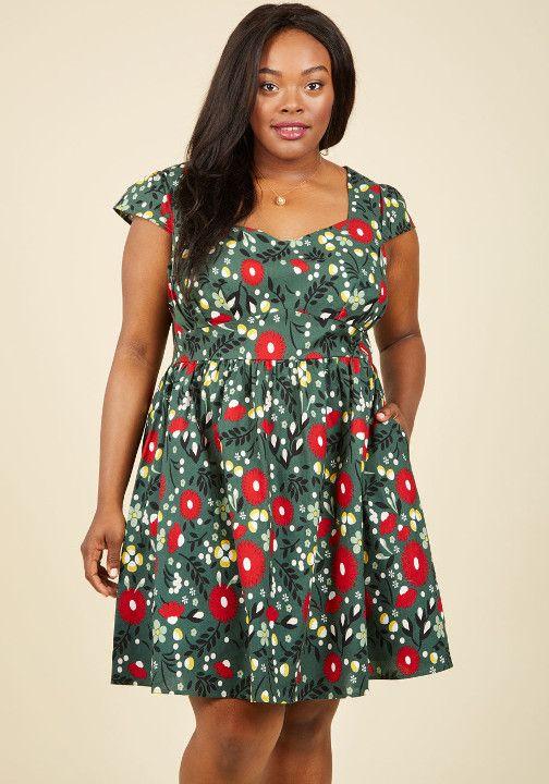 Cotton Blend Floral Print Dress In Women Plus Sizes Bodycon Dress