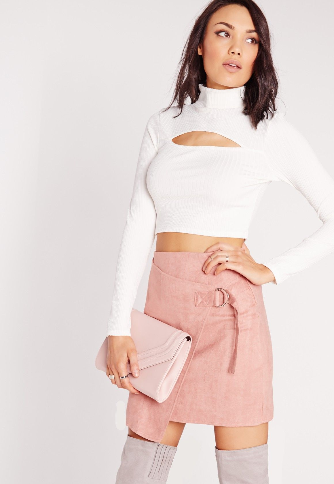 3f23626a965 Missguided - Turtle Neck Rib Peekaboo Cut Out Crop Top White | My ...