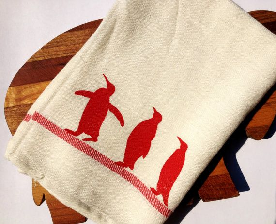 Penguin / Penguins Linen Dish Towel / Tea Towel