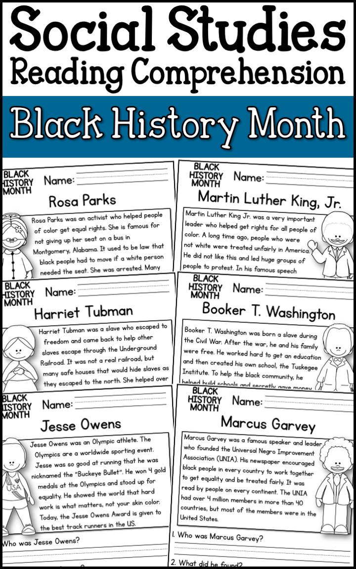 Black History Month Reading Comprehension Passages K 2 Black History Month Reading Social Studies Elementary 3rd Grade Social Studies [ 1150 x 720 Pixel ]