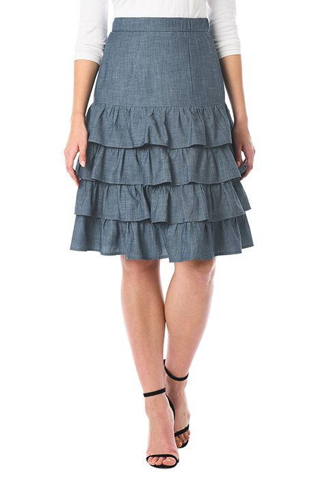 fdd2f42e9 Our charming cotton chambray skirt is crafted with ruffled tiers for a  feminine spin with an elastic banded waist. Fully customizable size