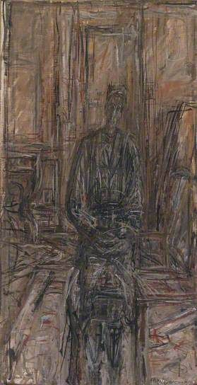 [The Artist's Mother] by Alberto Giacometti, 1949 - Oil on canvas, 74.3 x 38.8 cm I A narrow, elongated, full length portrait executed in a rapid, linear style. A woman is seated in a bare room, directly facing the viewer with a door behind her. The colours are muted pinks, greys and blacks.
