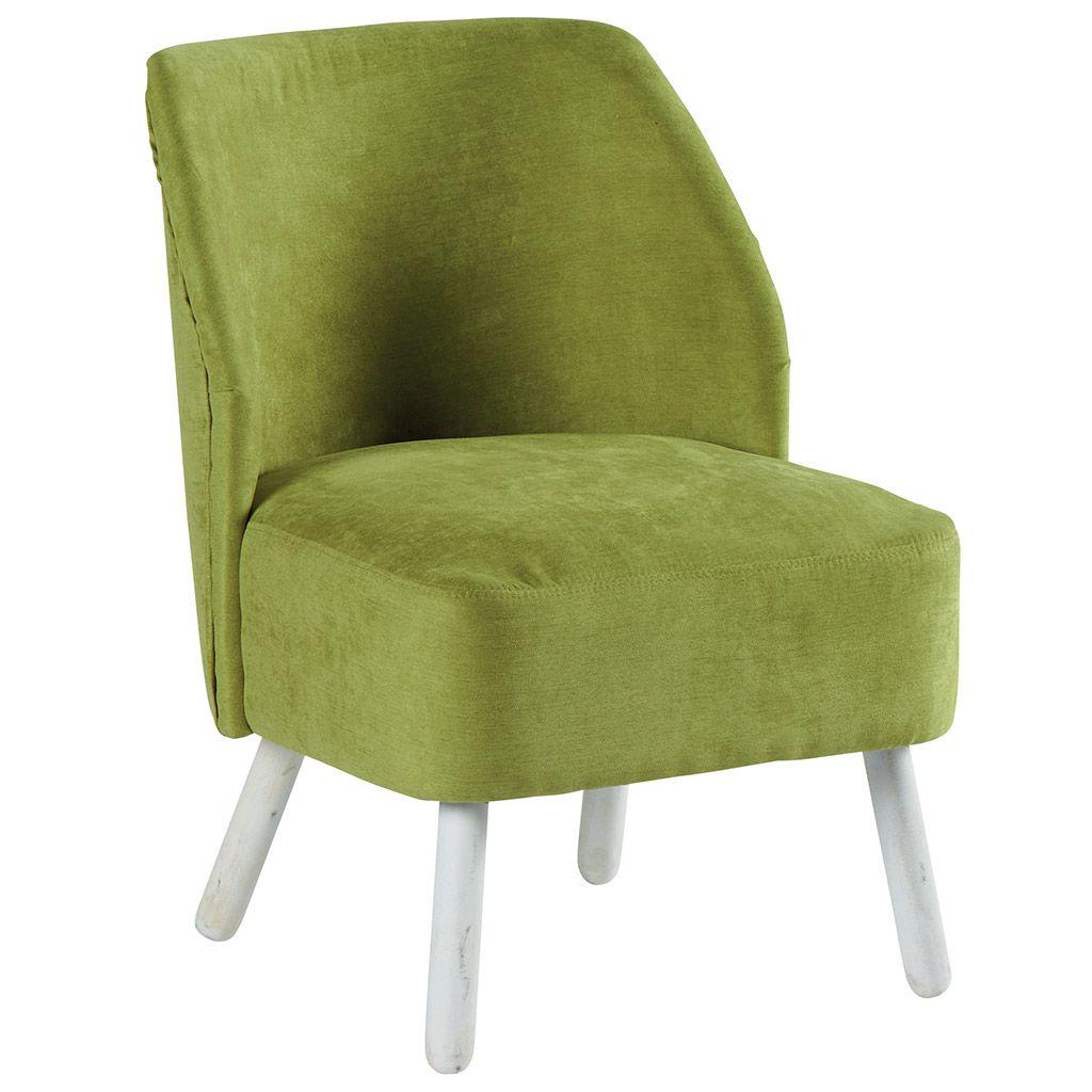 Fauteuil Club en tissu vert et pieds blanchis 56x64x73cm NINO - Infos et  Dimensions Largeur   1a9a7a53a0c2