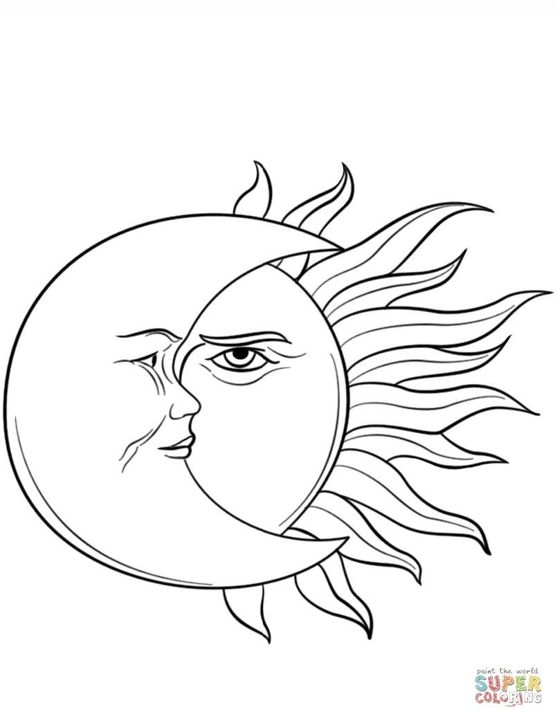 Perfect Sol Y Luna Para Colorear 55 For Kids With Sol Y Luna Para