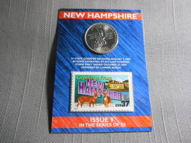 2000 US Mint State Of New Hampshire D Quarter Postal 37 Cent Stamp Sealed Issue USMINT Statehood NewHampshire Washington