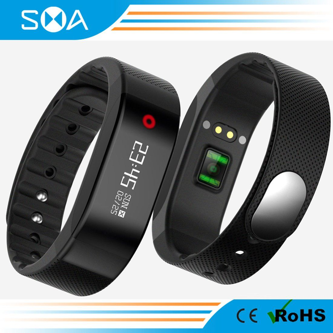 SMA Heart Rate Fitness Tracker, Waterproof Wristband Smart Watch Sports Bracelet Compatible Iphone/Android phones men/women Black. 1)Two Mode of dynamic heart rate monitor: a.Monitor your heart rate 24 hours, you can set in Application, every 15 or 30 or 60 minutes checking once, then SMA Wristband will monitor your heart rate every 15 or 30 or 60 minutes once automatically. After you contact your phone by bluetooth And Application will supply graph for review.b.Long press the touch bu...