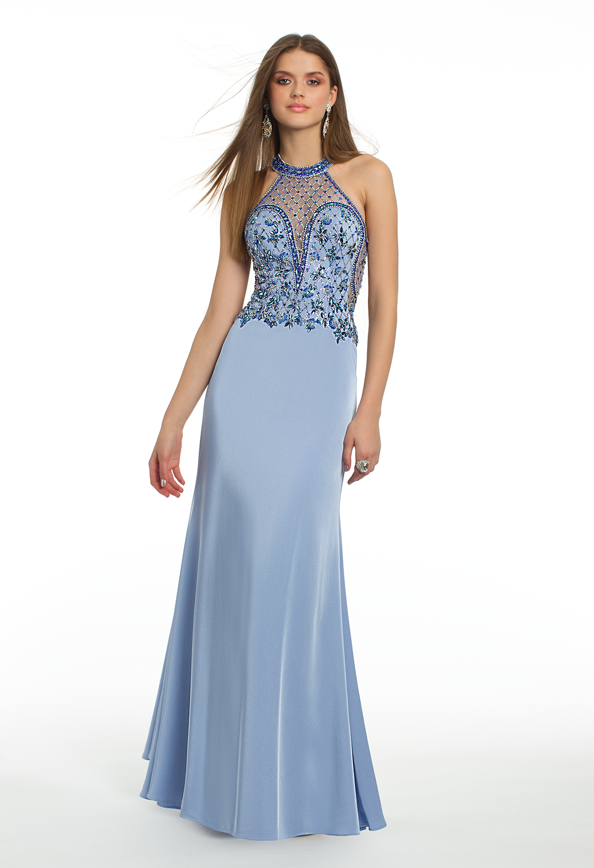 Prepare for an extravagant evening in this long prom dress the
