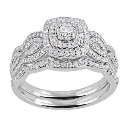 Forever Bride 3 8 Carat T W Diamond Double Frame Sterling Silver Bridal Set Walmart Wedding Rings Cheap Wedding Rings Sterling Silver Wedding Sets