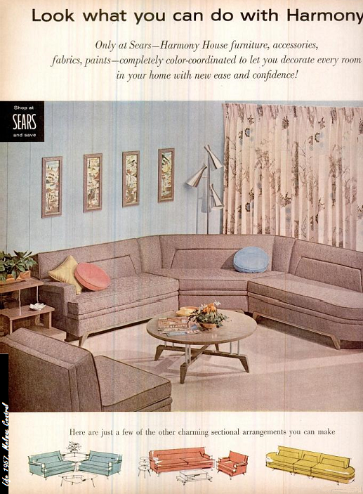 sears living room couches entertainment centers wall units this sofa is just amazing ad for harmony house 1957