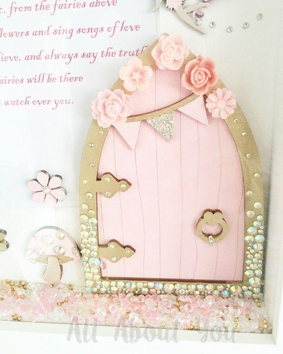 Personalised Dreamcatcher Nursery Bedroom Name Baby Gift Pink Flowers Fairy Dust