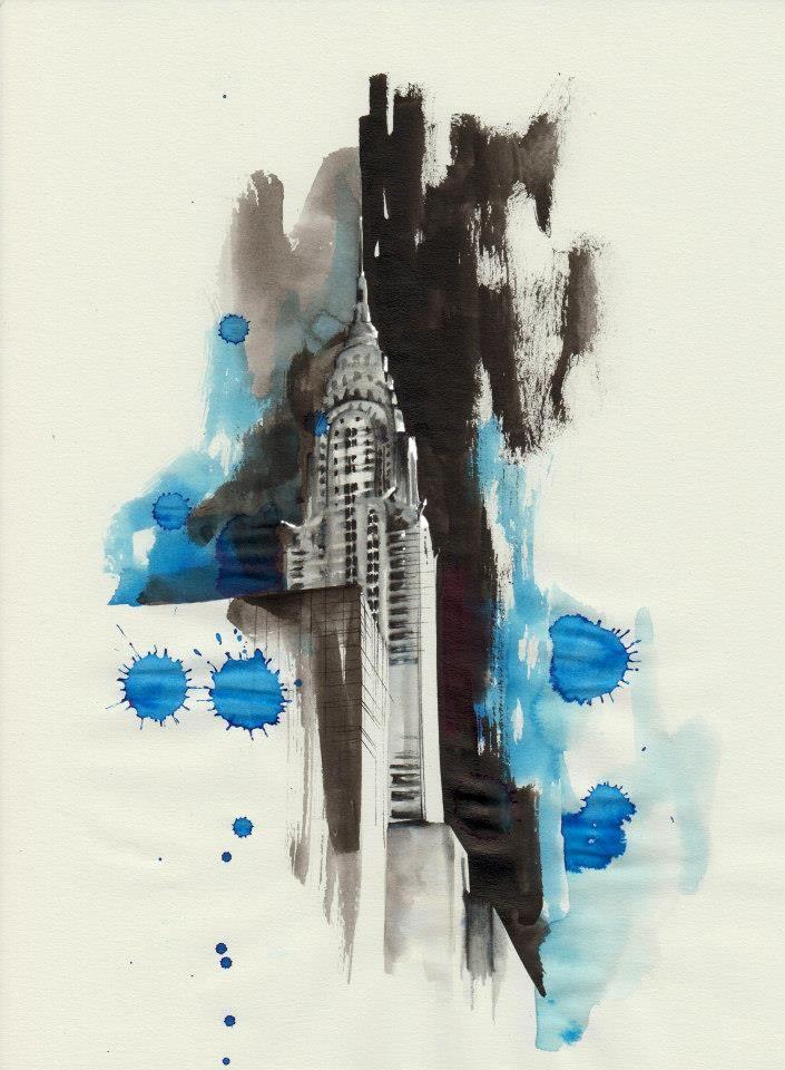 Chrysler Building - parker pen, ink, illustration by Mitja Bokun, February 2013