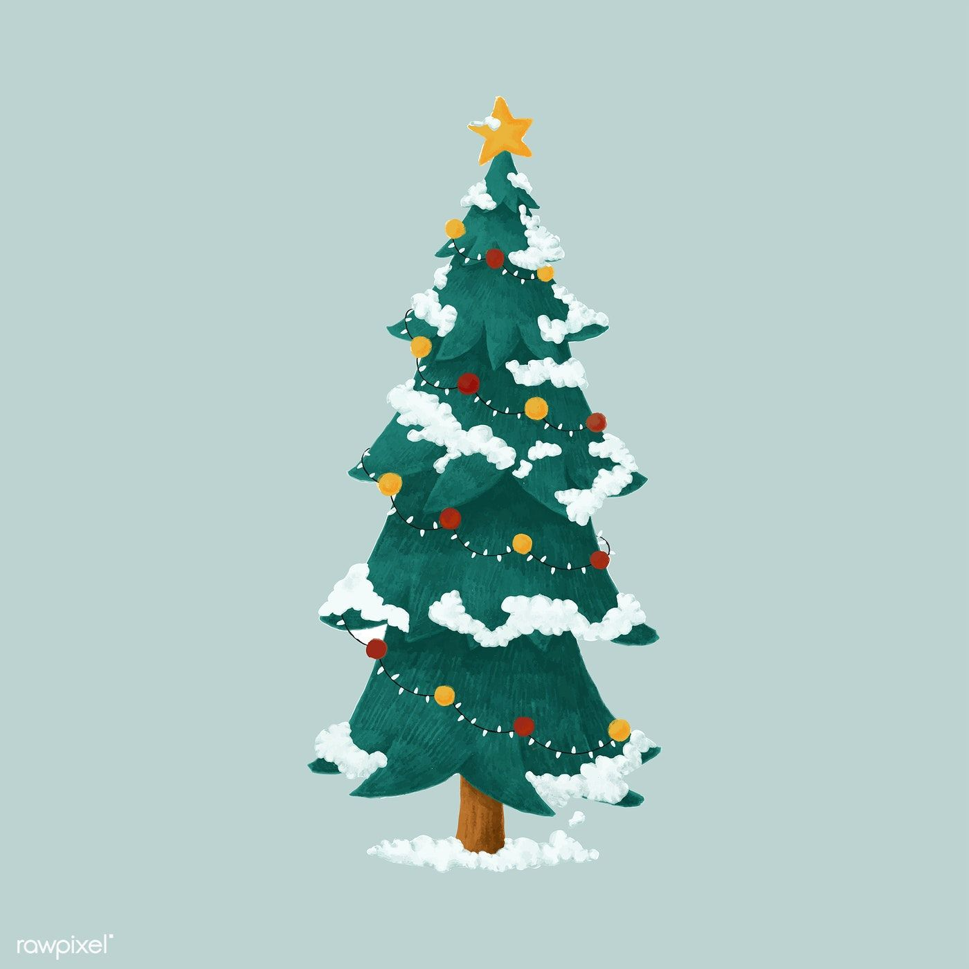 Hand Drawn Decorated Christmas Tree Illustration Free Image By Rawpixel Com Christmas Tree Drawing Christmas Illustration Cartoon Christmas Tree