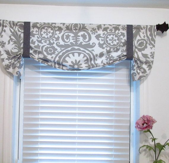 Tie Up Curtain Valance Suzani Storm Grey 42 00 Via Etsy This Is