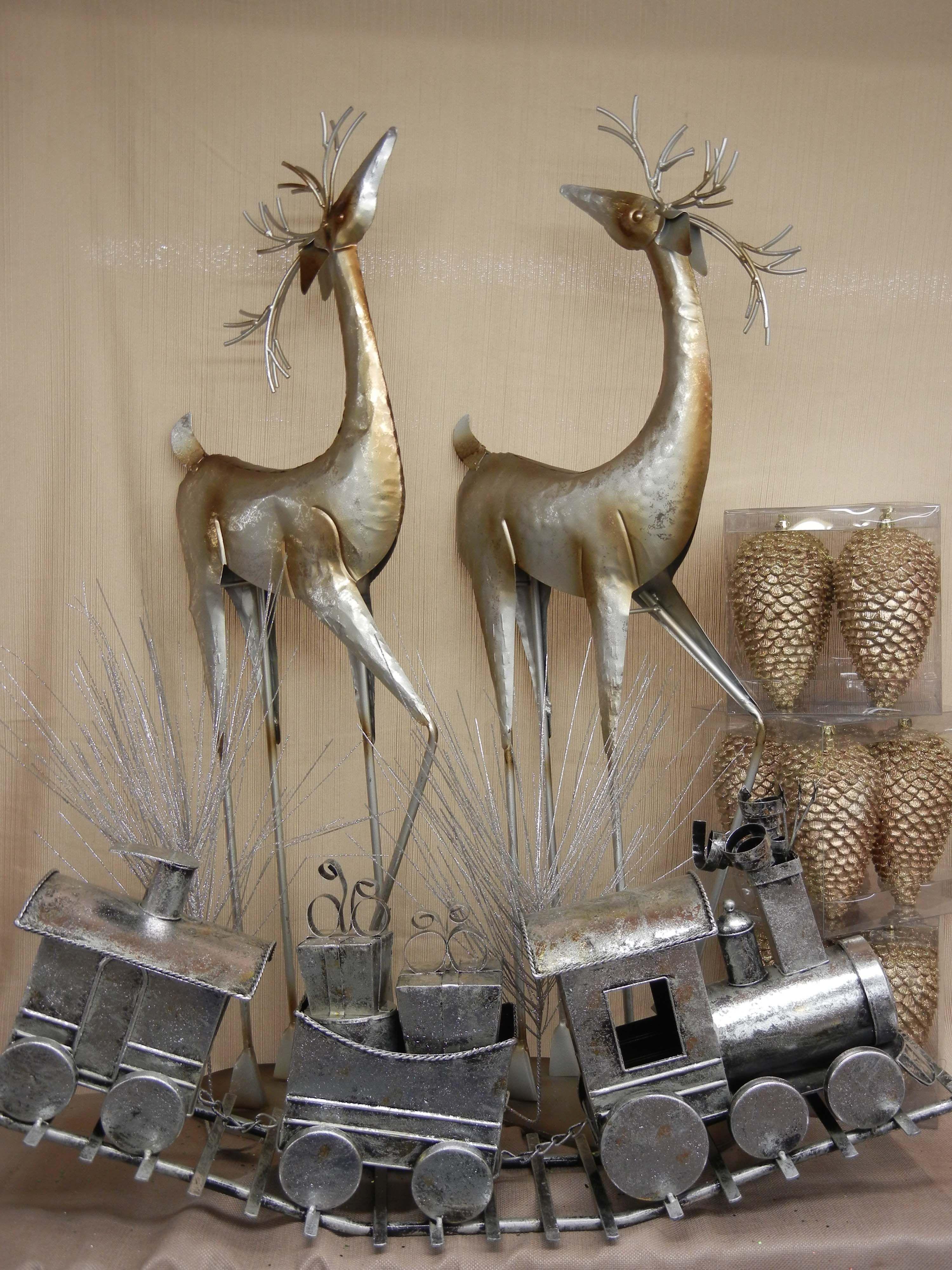 Metal deer and a train Metal, Christmas decorations, Decor