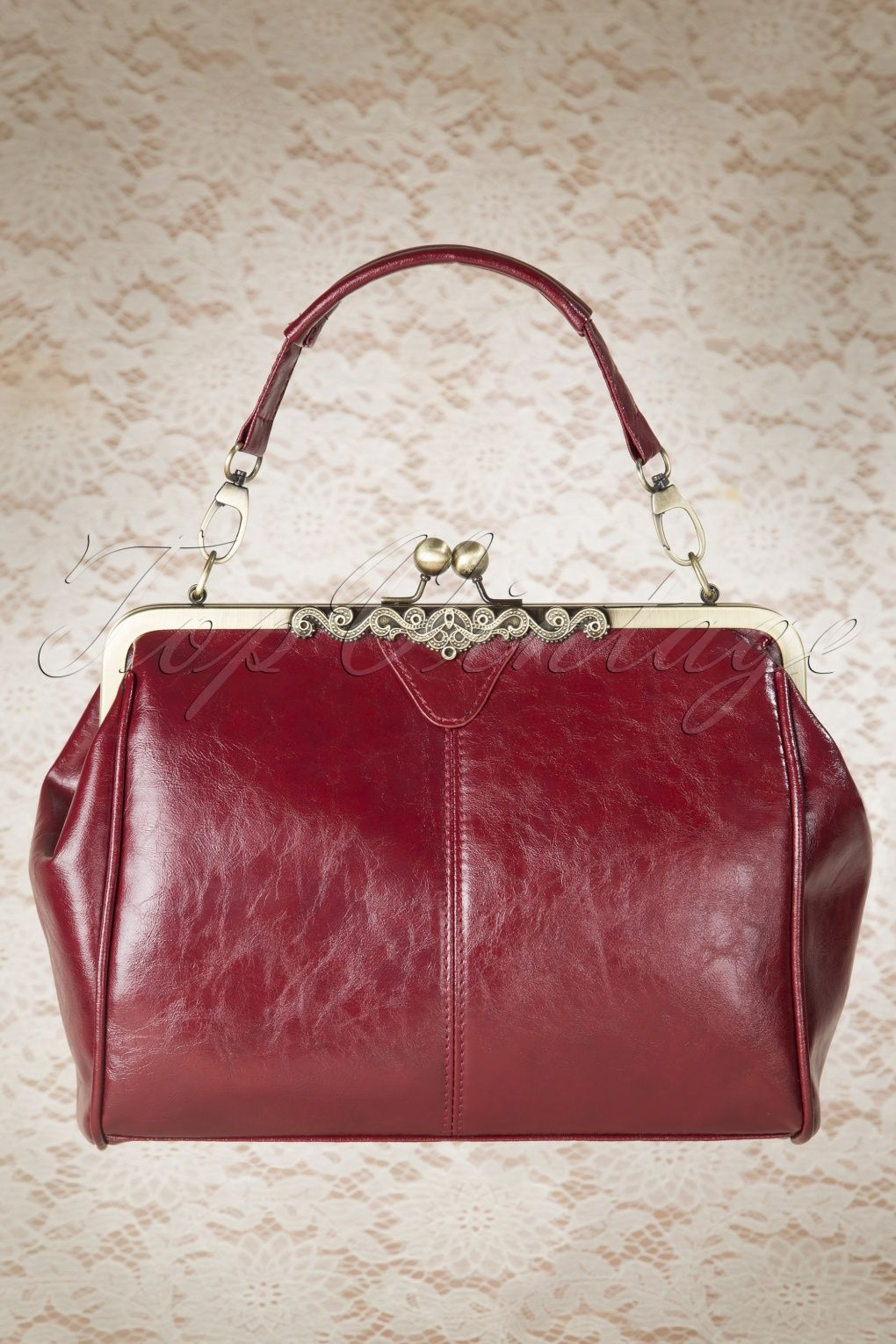 20s Vintage Frame Kisslock Clasp Bag in Burgundy   Handbags   Bags ... 62aee2a63b