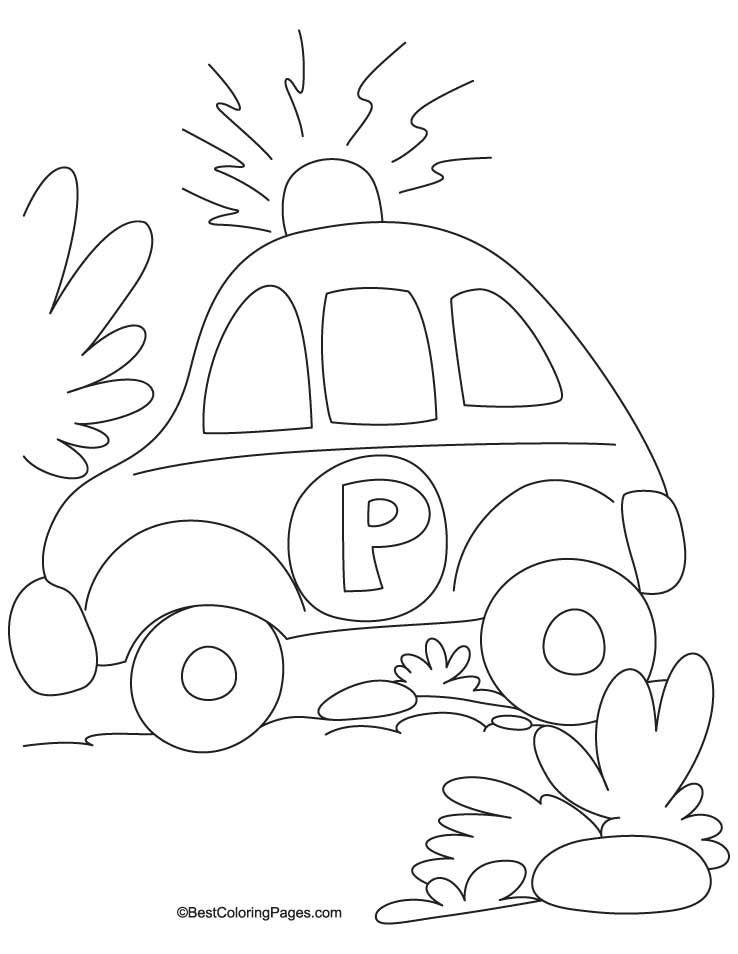 Police Petrol Car Coloring Page 1