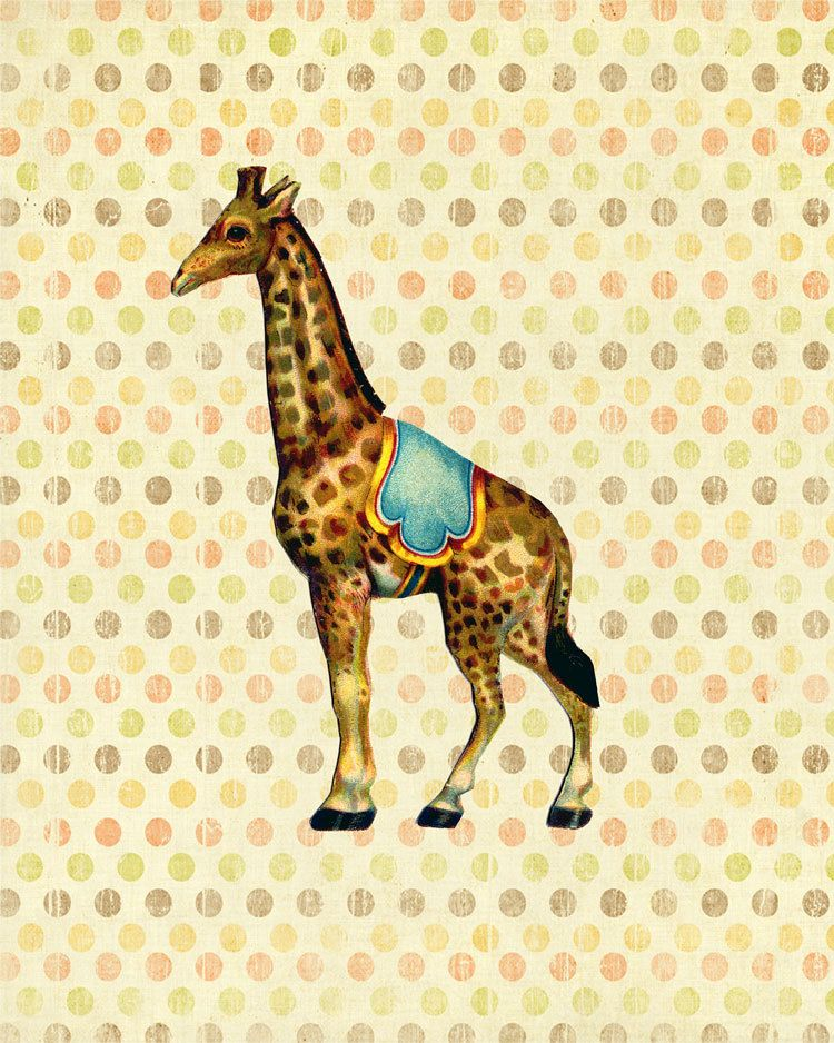 George the Circus Giraffe - Print - 8x10 - Modern Nursery Wall Art ...