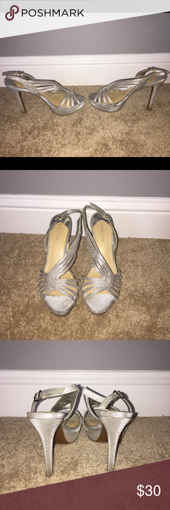 Gianni Bini Heels Silver rhinestone encrusted heels. I wore once for a wedding so they are in used condition per that night. They have some mild wear and tear. Gianni Bini Shoes Heels