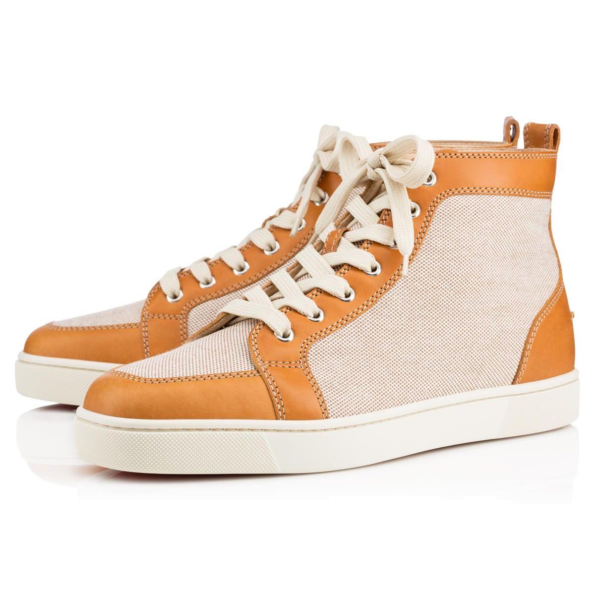 8f2d1d4a285a CHRISTIAN LOUBOUTIN Rantus Men S Flat Cognac Brown Leather Canvas.   christianlouboutin  shoes