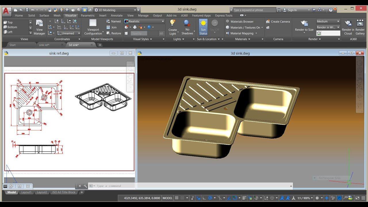Corner Kitchen Sink Design Autocad 3d Spulbecken Design