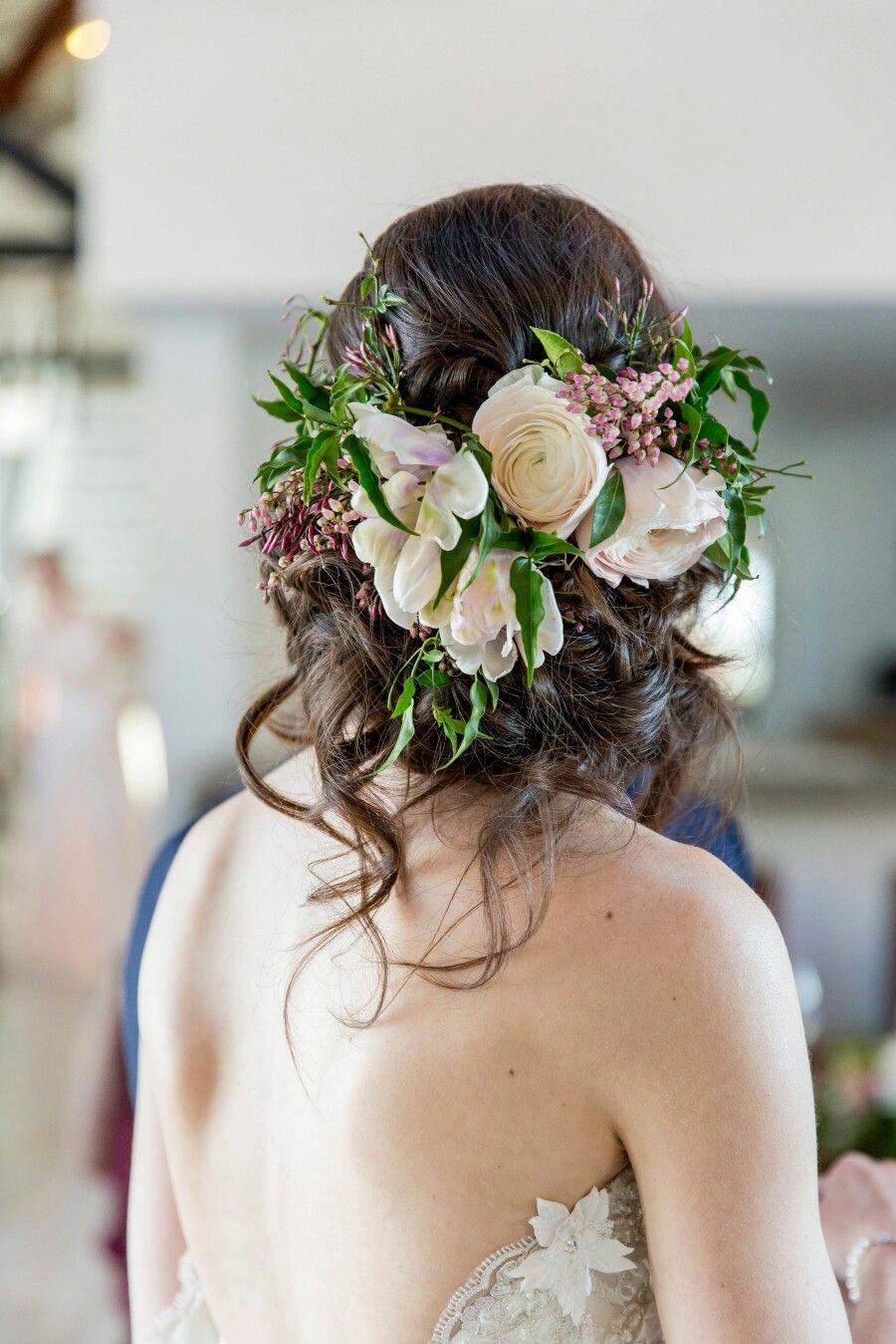 romantic floral crown bridal updo www.michelleannehairdesign
