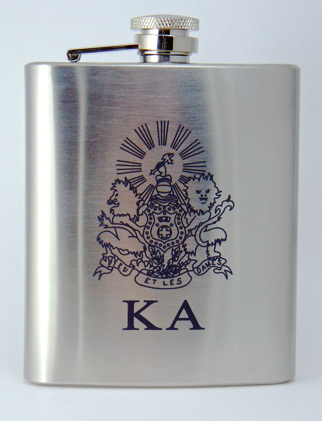 Kappa Alpha Order Laser Engraved Crest Brushed Silver 8 oz. Stainless Steel Flask- for Ian?