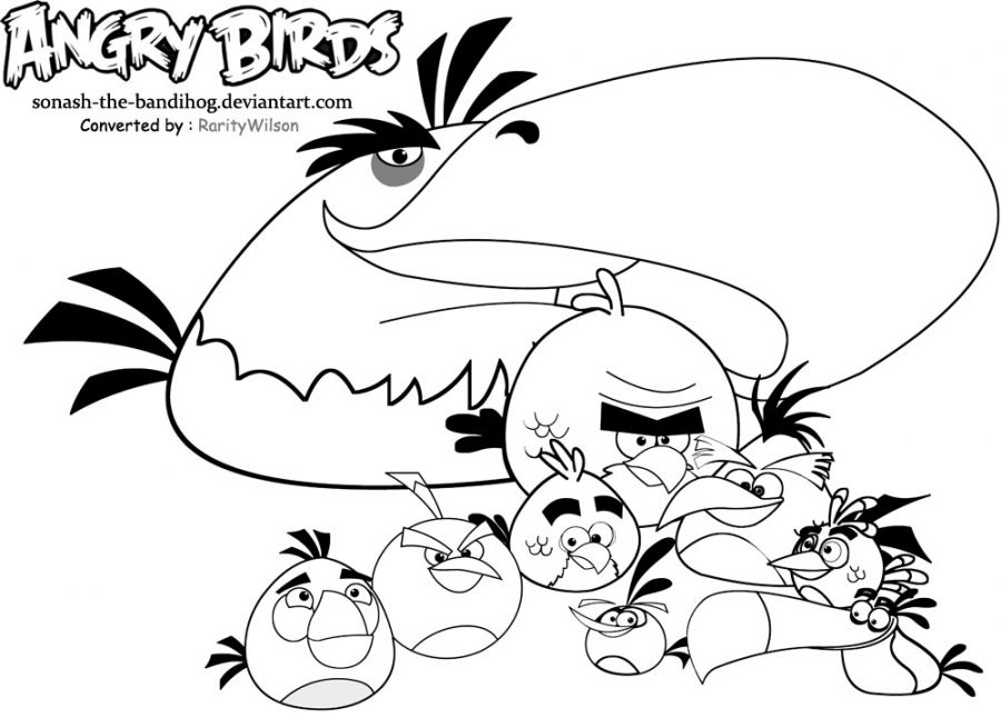 Angry birds coloring pages free for kids