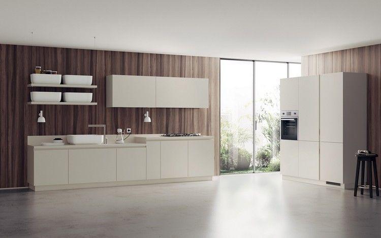 Creme Küche Holzverkleidung Küchenrückwand #kitchen #modern #ideas