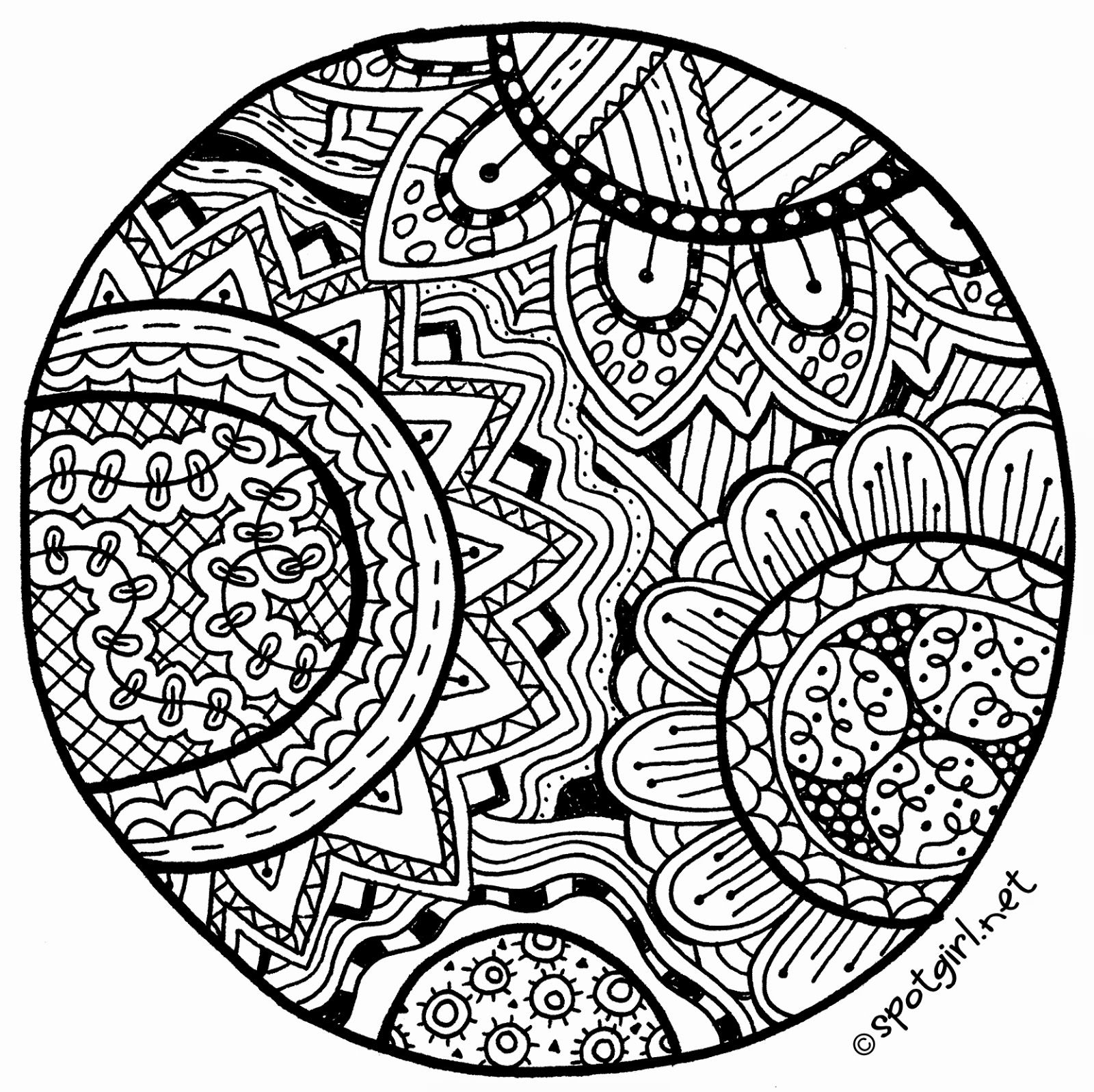Printable coloring pages zentangle - Zentangle Medallion Printable From Spotgirl Hotcakes Blogspot Com