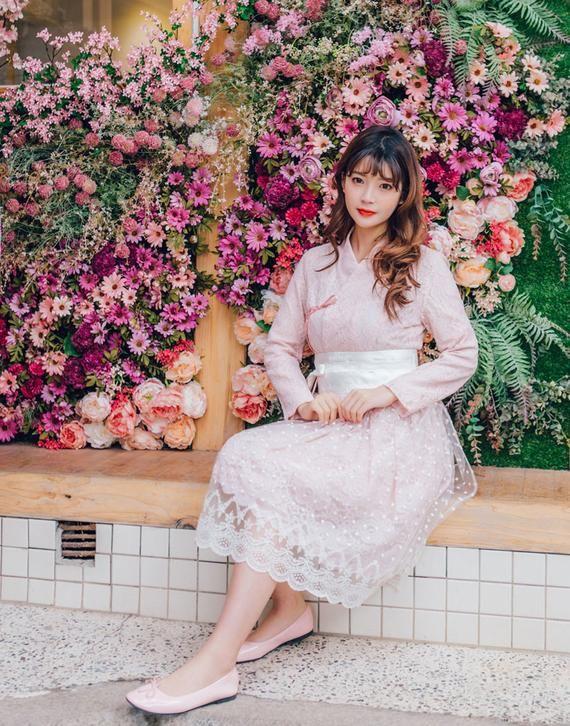 Women's Dress Lace Dress & Wrap Skirt Set Hanbok Party | Etsy