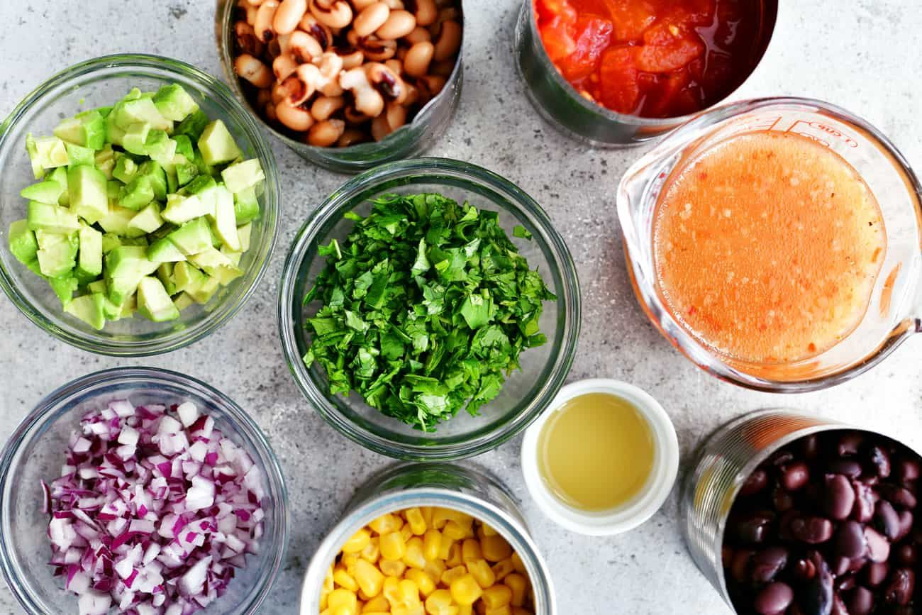 cowboy caviar ingredients in small bowls and cans #cowboycaviar