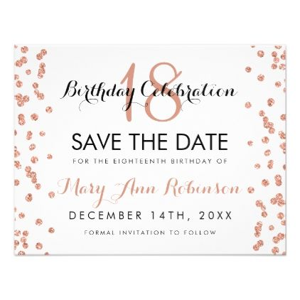 Birthday Save Date Rose Gold Glitter Confetti Card pink style - formal invitation style