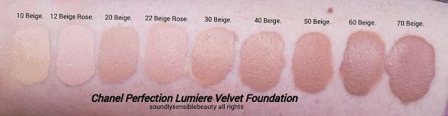 Chanel Perfection Lumiere Velvet Foundation; Swatches of Shades 10 Beige, 12 Beige Rose, 20 Beige, 22 Beige Rose, 30 Beige, 40 Beige, 50 Beige, 60 Beige, ...