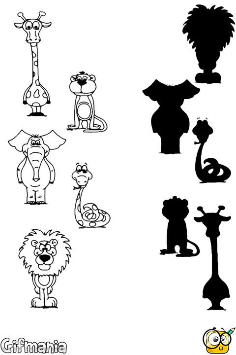 Match these animals with their silhouettes! #activitypages #animals ...