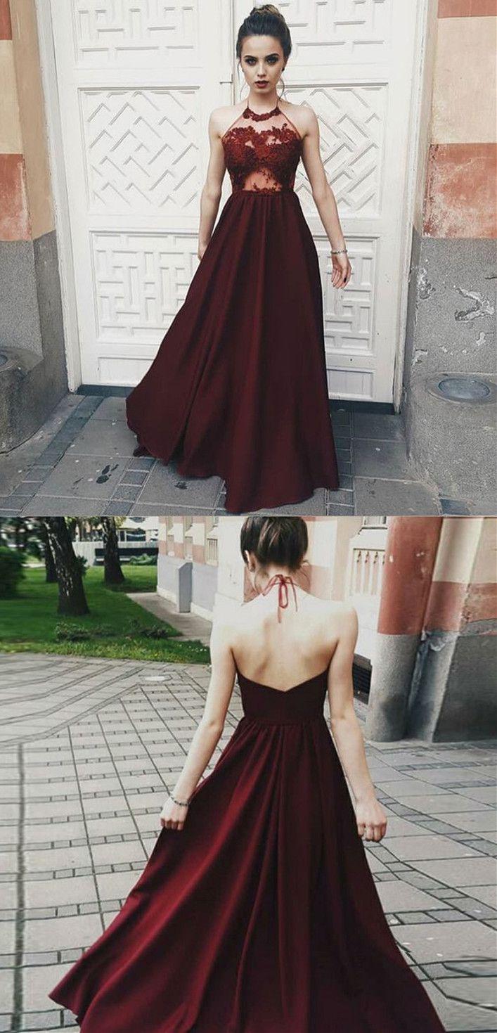 A-Line Halter Backless Floor-Length Burgundy Satin Prom Dress with ...