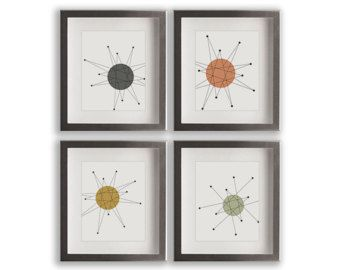 Mid Century Wall Decor franciscan starburst art prints - set of four mid century modern