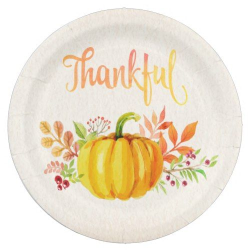 Thanksgiving  Thankful  Watercolors Both Sizes Paper Plate  sc 1 st  Pinterest & Thanksgiving