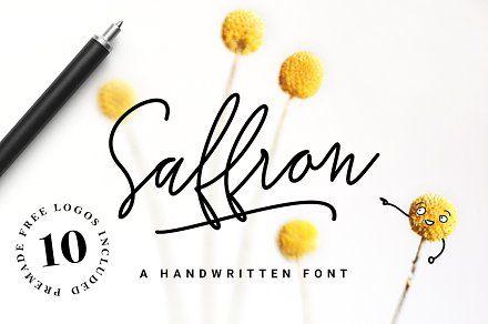 Saffron Handwritten Font Script Hand Lettering Typography Fonts Cursive