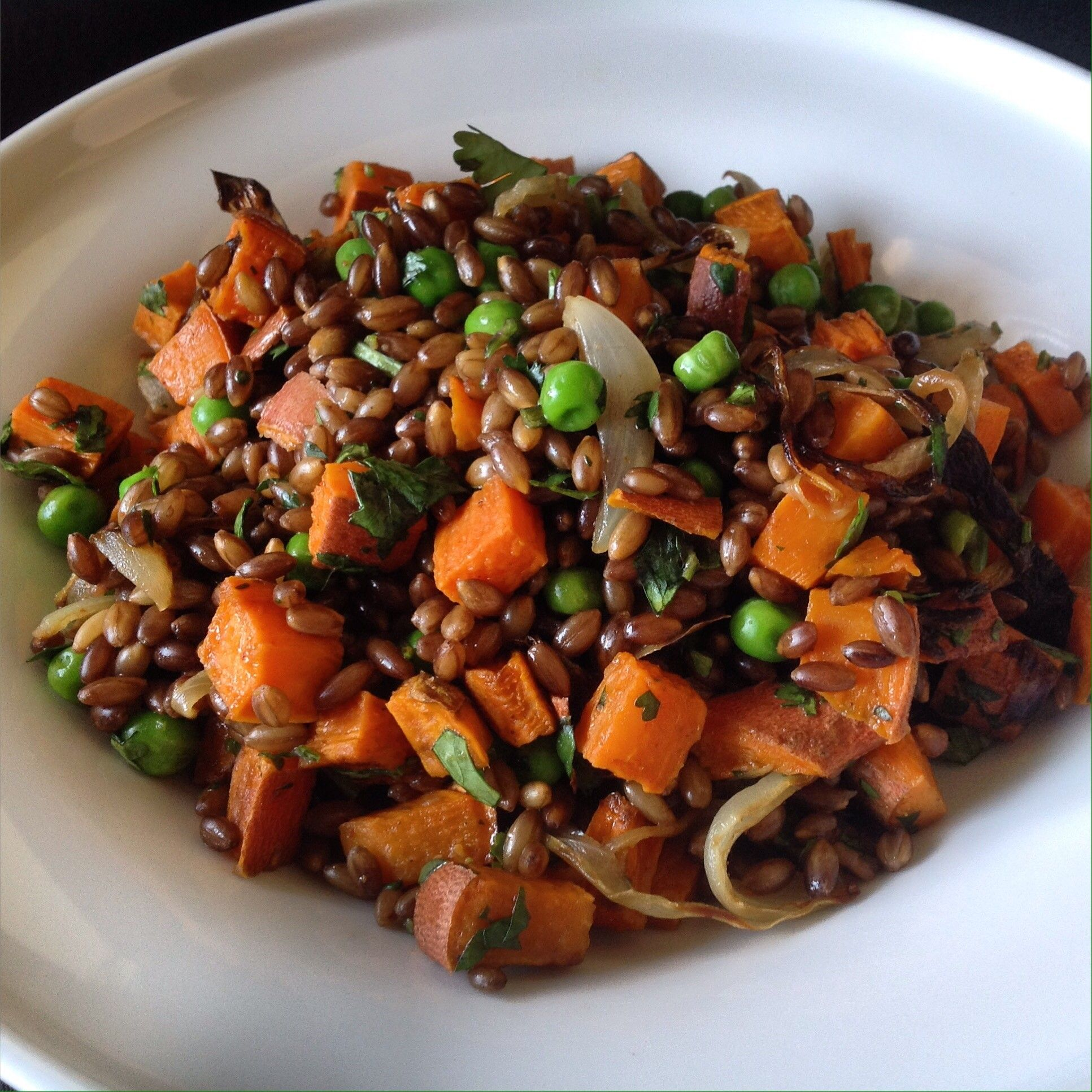 African black barley salad with coconut berbere dressing