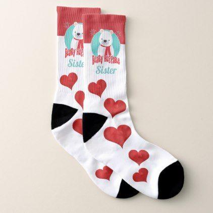 Beary Huggable Winter Christmas Bear Personalized Socks - merry