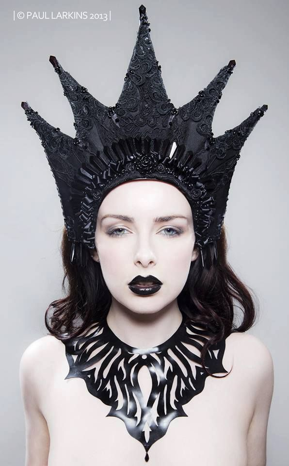 the 39 mistress of darkness 39 faux leather lace and crystal kokoshnik headdress model is alivya. Black Bedroom Furniture Sets. Home Design Ideas