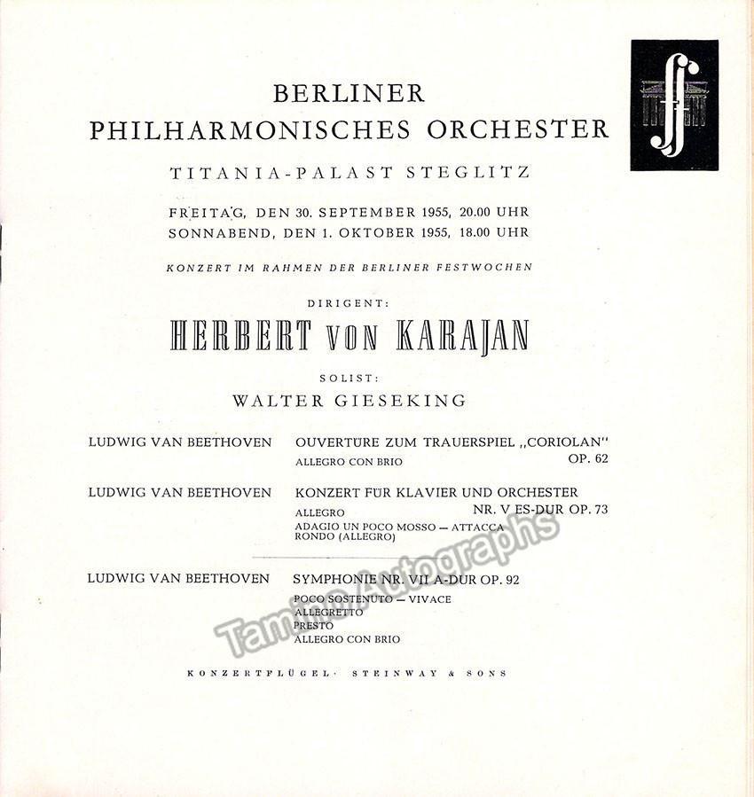 Gieseking, Walter - Karajan, Herbert von - Concert Program Berlin - concert program