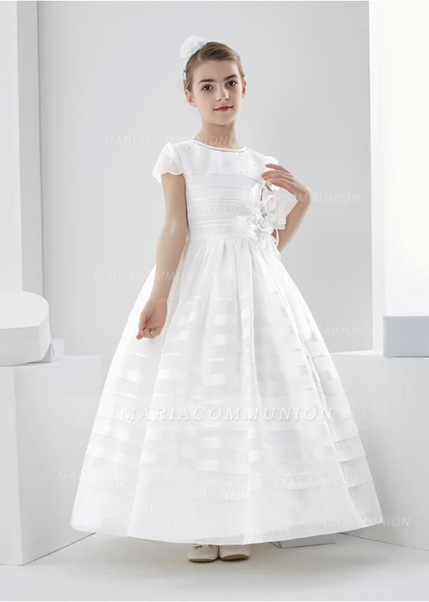 c10b809708a Scalloped Short Sleeve Ball Gown Organza First Communion Dress with Beading  and Flower