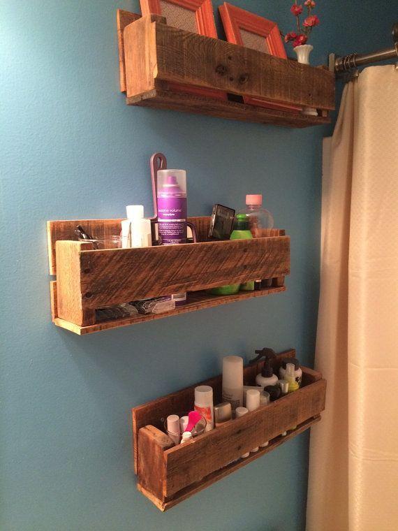 Pallet Wall Storage Shelf Cubby Blue Colored Rectangular Shape Wooden Material Racks Bathroom Organizer Shelves