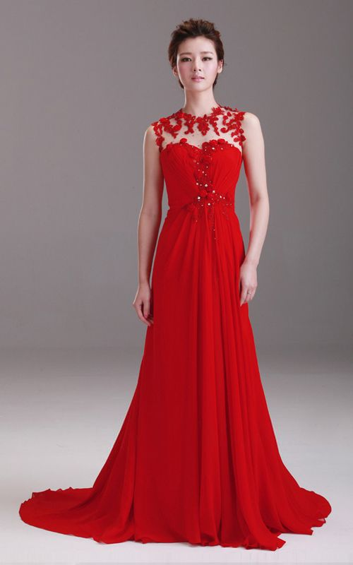 Round Neck Sleeve A Line Floor Length Trailing Evening Gown Chinese Red Bridal Wedding Dress