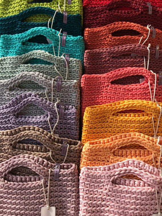 Sac cabas style scandinave au crochet sac fait main cadeau sac à main tricoté pour sa couleur bleu foncé   – hallo